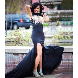3db17d8c2b15 Glamorous Black Long Sleeve Prom Gowns 2019 Mermaid Lace Appliques Evening  Gowns with Slit Custom Made