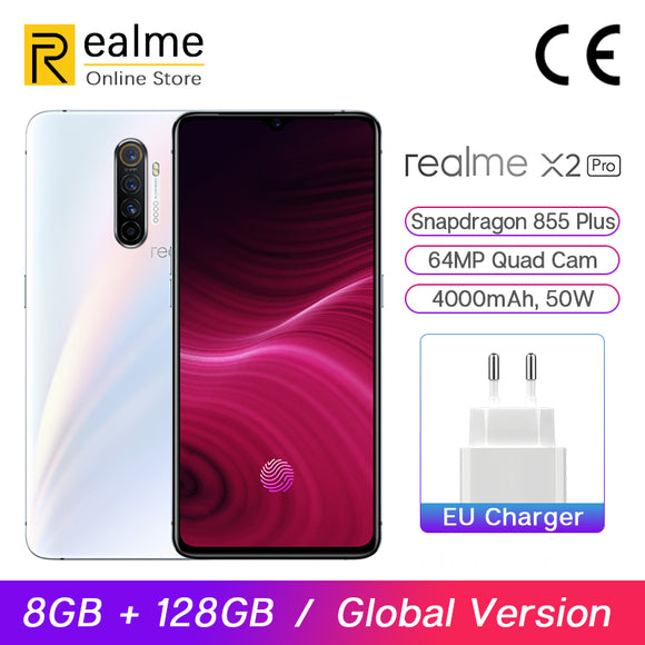 Global Version Realme X2 Pro Snapdragon 855 Plus Mobile Phone 8GB 128GB 6.5'' 64MP Quad Cam 90Hz Display NFC 50W VOOC