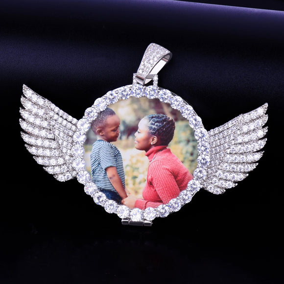 Gold Custom Made Photo With wings Medallions Necklace & Pendant 4mm Tennis Chain Cubic Zircon Men's Hip hop Jewelry 7.5x5.5cm