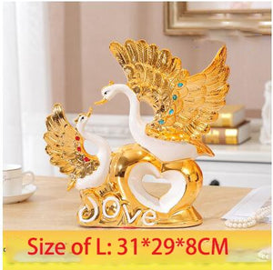 Gold-plated Wan Wedding Gift Ceramic Vase Ornaments Home Furnishing Decoration Crafts Livingroom Creative TV Cabinet Figurines