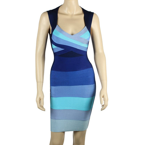 Good Quality Blue Gradient Square Collor Bandage Dress Party Evening Elegant Dress