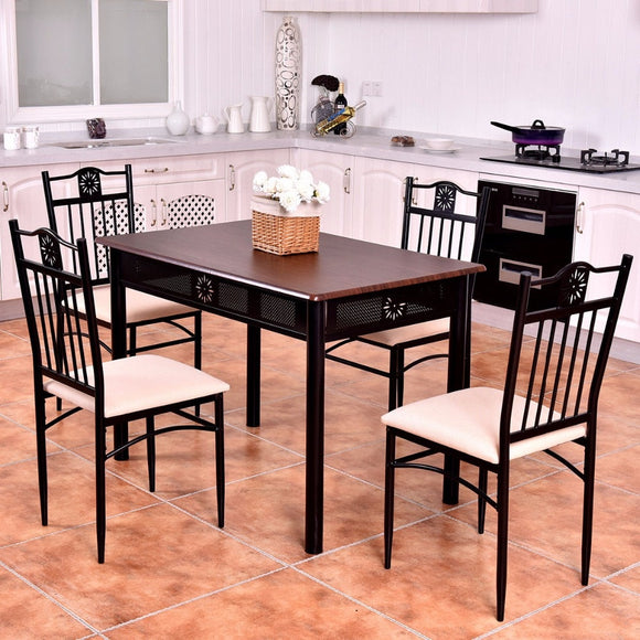 Goplus 5 Piece Kitchen Dining Set Wood Metal Table and 4 Chairs Kitchen Breakfast Modern Dining Room Furniture Set HW56524