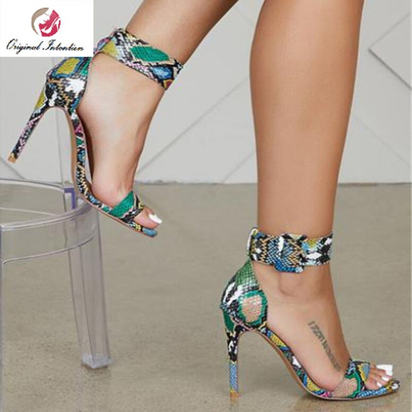 Original Intention Fashion Women Sandals Open Toe Colorful Sandals Thin High Heels Sandals Sexy Stylish Shoes Woman Size 4-15