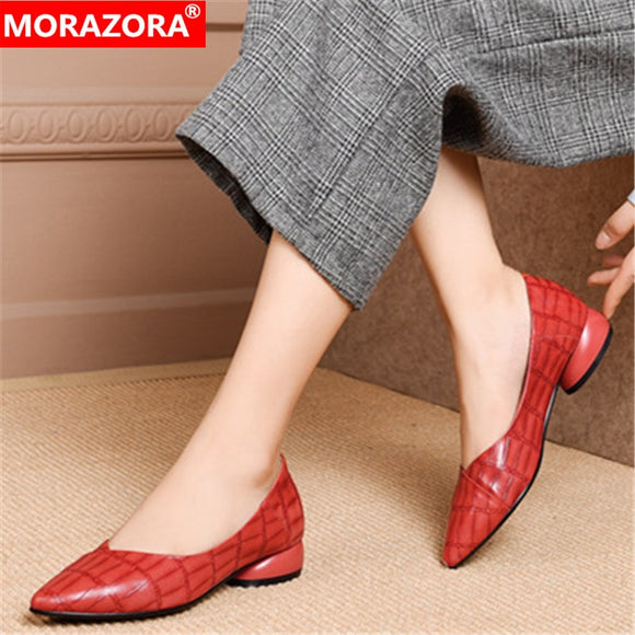 MORAZORA 2020 big size 34-43 fashion women shoes low heel pointed toe simple casual shoes genuine leather women pumps black red