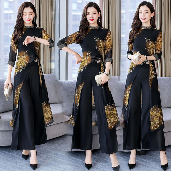 Fashion Suit For Women 2019 Summer New Print Top + Wide Leg Pants Trousers Elegant Lady Two Piece Set Plus Size M-4XL