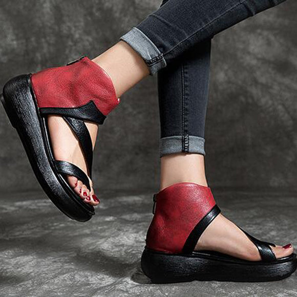 Casual Women's Sandals Fashion Comfortable Large Size Wedges Mixed Colors Ladies Sandals Slip On Round Toe Shoes Platform
