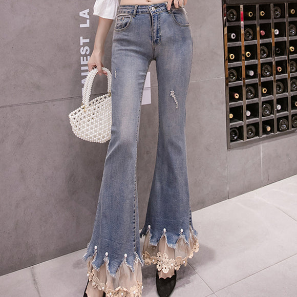 2020 Spring Embroidery Patchwork Jeans Pants Flowers Laces Elegant Female Wide Legs Flare Pants High Waist Ladies Long Trousers