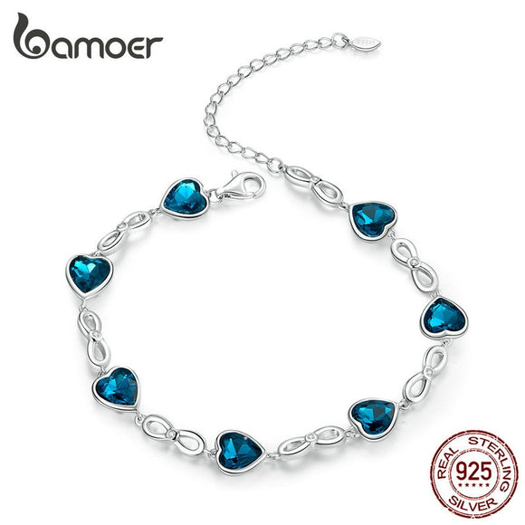 bamoer Sterling Silver 925 Chain Bracelet for Women Wedding Engagement Statement Jewelry Blue Heart Luxury Jewelry SCB163