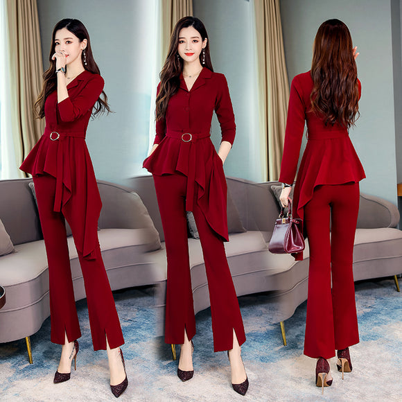 Women Autumn Set Full Sleeve iregular blouse shirt tops+Pants trousers Suit Office Lady Two Pieces Set