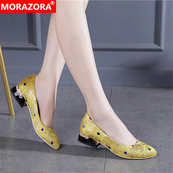 MORAZORA 2020 summer hot sale sweet women pumps fashion pointed toe yellow color shoes woman classic party shoes women
