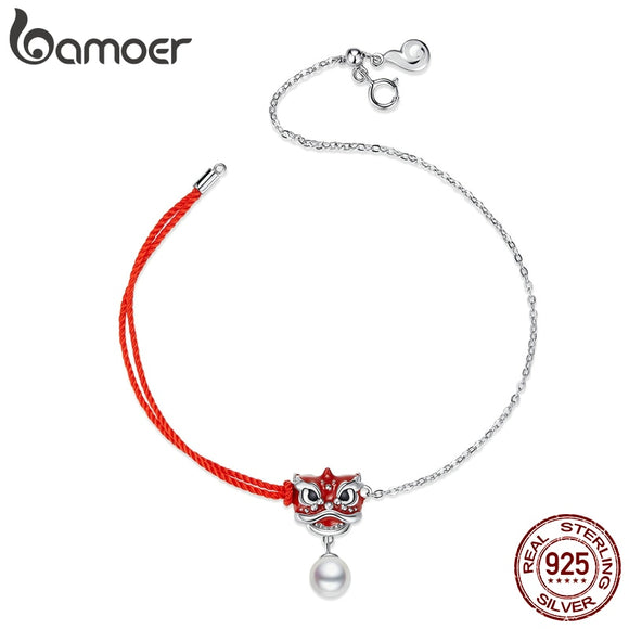 bamoer Lion Dance Red Rope Chain Bracelet for Women 925 Sterling Silver Enamel Chinese Traditional Fashion Jewelry BSB037