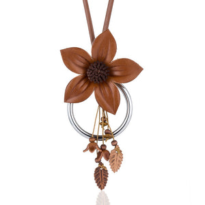 HOCOLE Elegant Women Handmade Big Flower Pendant Leather Cord Necklace 2018 New Fashion Necklace Jewelry Trendy Accessories