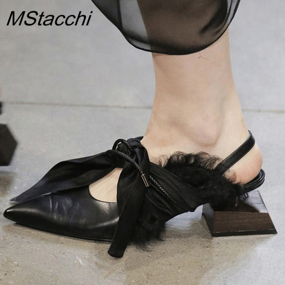 Mstacchi Shaped wood square heel Party shoes Woman Genuine leather Silk Bow tied Point toe Runway Shoe ladies special Slingbacks