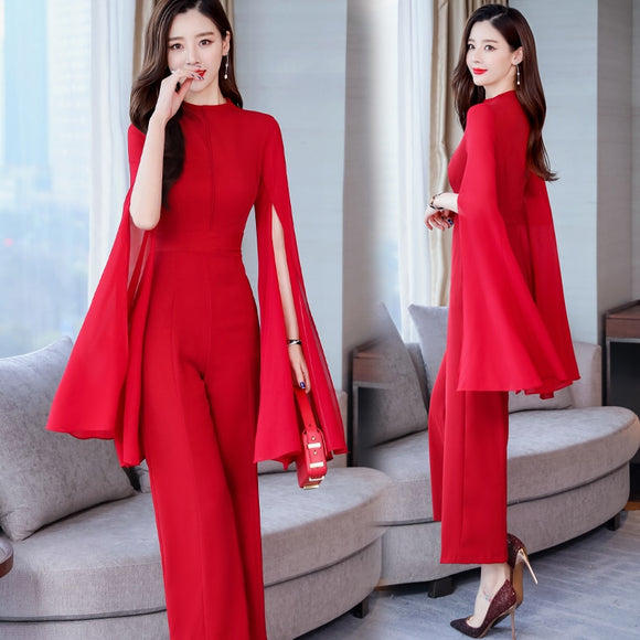 2019 new Spring Summer Long solid Jumpsuits fashion Women elegant Long split sleeve Rompers office lady Jumpsuit high quality