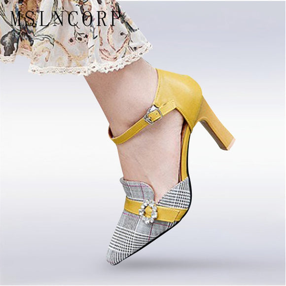plus size 34-46 Fashion Women Pumps Sandals Jacquard Fabric Plaid High Heel Summer Pointed Toe Shoes Casual Sexy Party Buckle