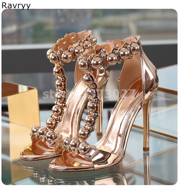 Ankle Strap Sandals Summer woman golden high heel rivets open toe stiletto heel Sexy Pumps cover heel female party dress shoes