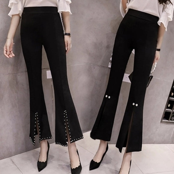 rivet flare pants lace casual pants high waist bottoms stretch skinny pants women beading work pant spring summer soft trousers