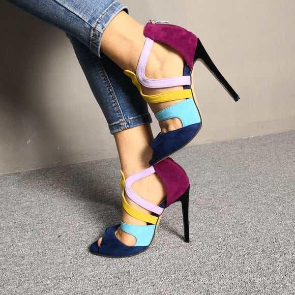 Olomm New Fashion Women Sandals Sexy Stiletto High Heel Sandals Open Toe Charm Multi Color Dress Shoes Women US Plus Size 5-15