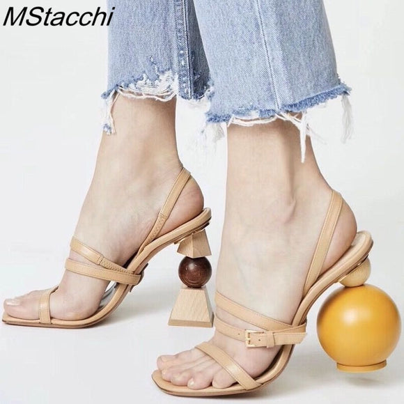 MStacchi Strappy Strange heel Gladiator Sandals Women Open Toe Buckle High Heel Shoes Asymmetric Building Block Heel Party Shoes