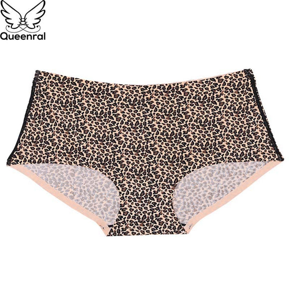 Queenral Plus Size M L XL XXL XXXL Panties Seamless Briefs Underwear Women Lingerie Sexy High Waist Cotton Leopard Intimates
