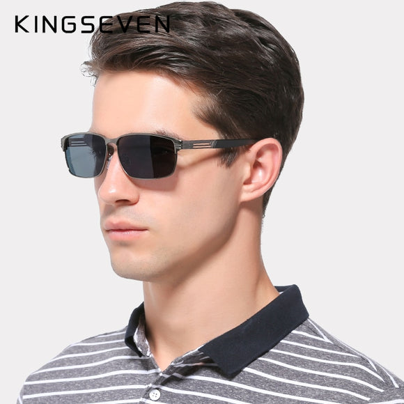 KINGSEVEN BRAND DESIGN Sunglasses Men Driving Male Polarized Sunglasses Vintage Square Frame Eyewear Oculos Gafas UV400
