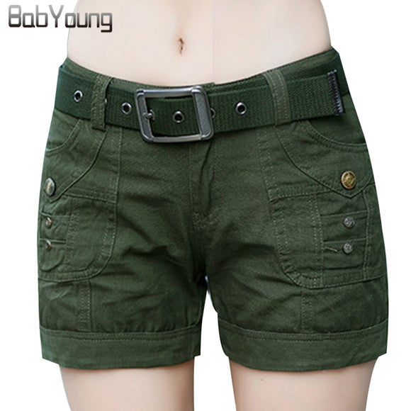 BabYoung Workout Shorts Women Shorts Army Green Military Camouflage Print Summer Style Sexy Short Feminino Mujer Not with Belt