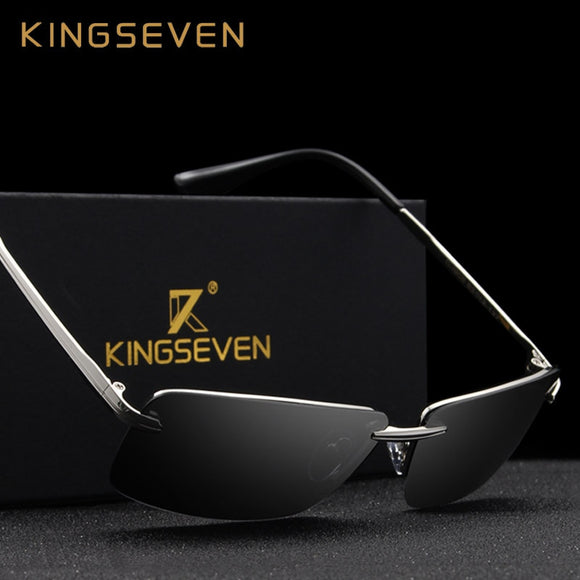 KINGSEVEN 2019 Rectangle Sunglasses Men Travel Polarized Rimless Sun glasses Male Fishing Eyewear Oculos Gafas N7905