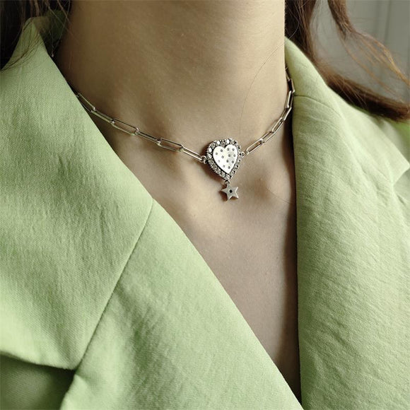 LouLeur Real 925 Sterling Silver Heart Short Chains Necklace Romantic Star Zircon Party Necklace Women Fashion Fine Jewelry Gift