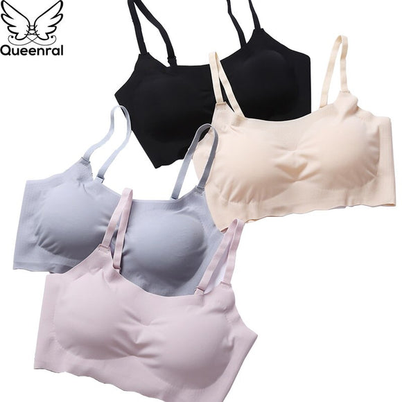 Queenral Seamless Brassiere Bras For Women Full Cup BH Comfortable Breathable Bralette Wire Free Sleep Bra Vest Ultra-thin Sexy
