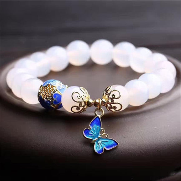 High Quantity 10mm beads White Agates natural stone bracelet women accessories metal butterfly pendant tasbih jewelry wholesale