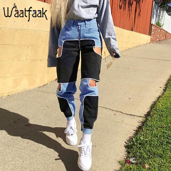 Waatfaak Black Blue Cargo Pants Female Casual Zipper Up Casual Trousers Skinny High Waist Patchwork Pocket Joggers Hollow Out