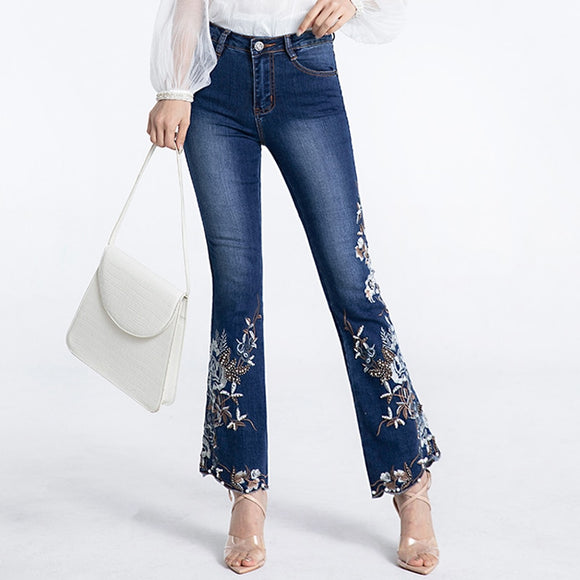 FERZIGE Brand Beading Embroidery Flare Pants Women Elastic Skinny Beautiful Clothes Ladies Jeans Lolita Blue Trousers