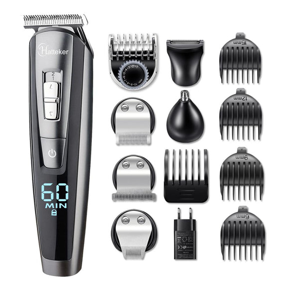 HATTEKER professional hair trimmer waterproof 5 in1hair clipper electric hair cutting machine beard trimer body men haircut