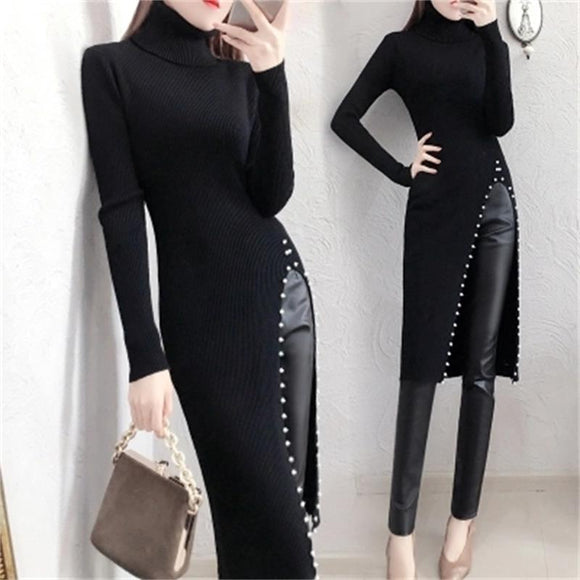 Fashionable Female Sweater suit women winter New Temperament sweater skirt suit skirt women plus velvet leather pants two-piece