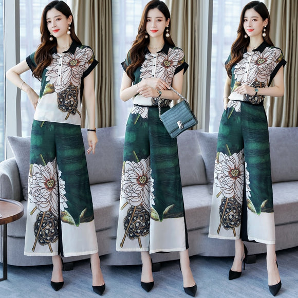 High quality women summer floral blouse suits lady two pieces set clothes wide leg pant suits free shipping
