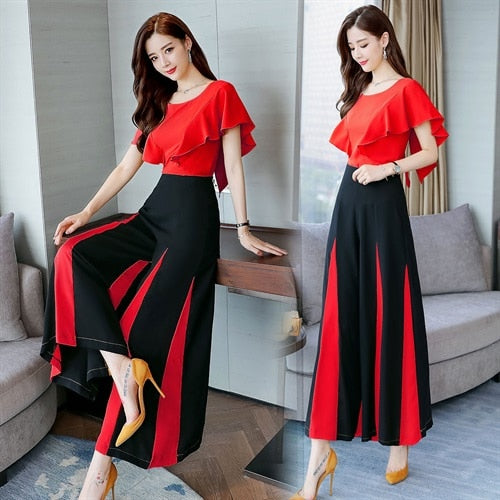 2019 Summer Women batwing sleeve shirt+wide leg pants Sets lady two Pieces colors patchwork trousers Suits high quality