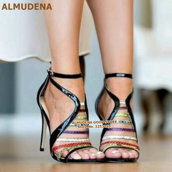 ALMUDENA Women Multi-Sankeskin Strappy Sandals Hollow Out Cage Dress Pumps Black Patent Leather Buckle Strap Party Shoes Size47