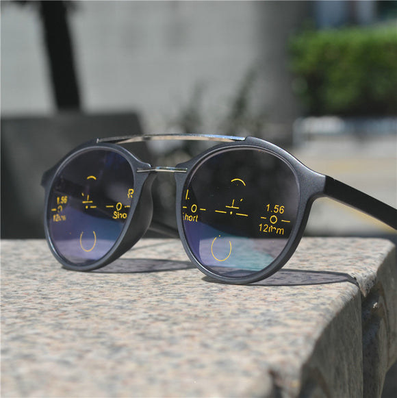 progressive multifocal reading glasses men's adjustable vision square sun photochromic outdoor sunglasses with box NX