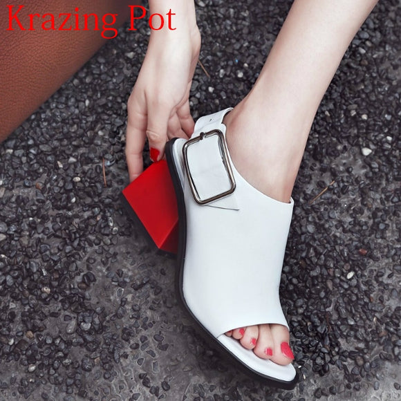 2020 Superstar Genuine Leather Peep Toe Ankle Strap Square Heel Women Sandals High Heels Slingback Mixed Colors Summer Shoes L50