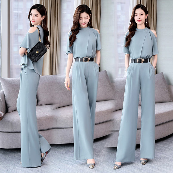 2019 Summer new Women two pieces set elegant Tops blouse and Woman's Wide Leg Pants Trousers Suit