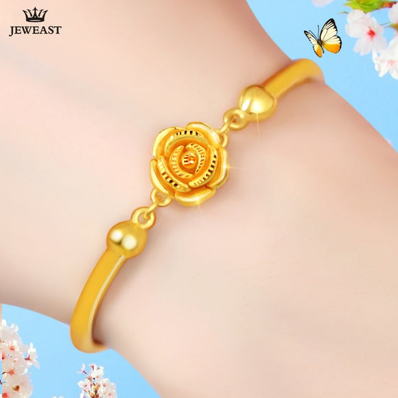 QA 24K Pure Gold Bracelet Real 999 Solid Gold Bangle Solid Beautiful Rose Romantic Trendy  Classic Jewelry Hot Sell New 2
