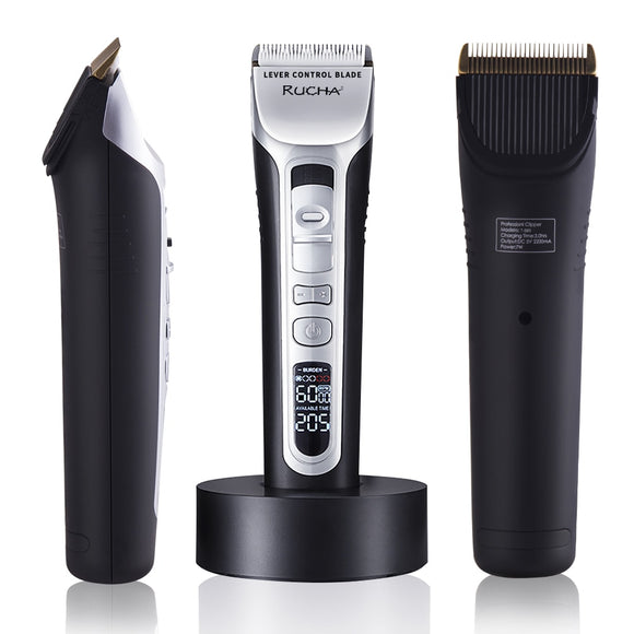 RUCHA Barber Electric Hair Clipper Rechargeable Hair Trimmer Titanium Ceramic Blade LCD Display Salon Men Hair Cutting Machine