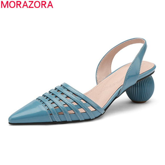 MORAZORA 2020 big size 33-43 fashion hollow out women pumps genuine leather simple ladies shoes summer solid color casual shoes