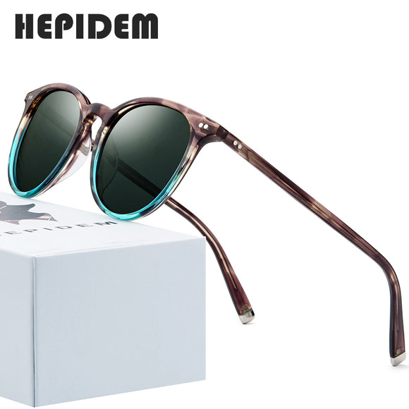 HEPIDEM Polarized Sunglasses Classical Brand Designer Gregory Peck Vintage Men Women Round Sun Glasses 100% UV400 5288 9122