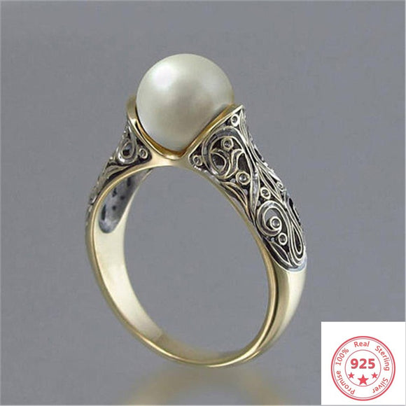 925 Silver Color Sterling Pearl Ring for Women Topaz Bizuteria Silver 925 Jewelry Pearl Gemstone Ring with Box