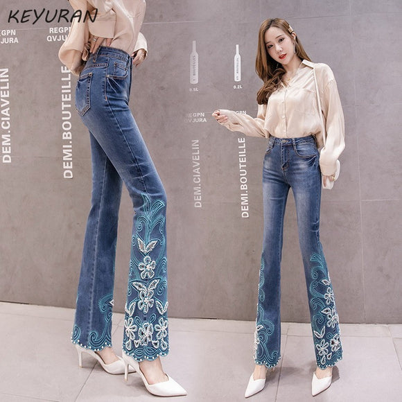 Hollow out Beading Floral Embroidered Blue High waist Flare Jeans Women Boot Cut Trousers Stretch Skinny Bell Bottom Denim Pants