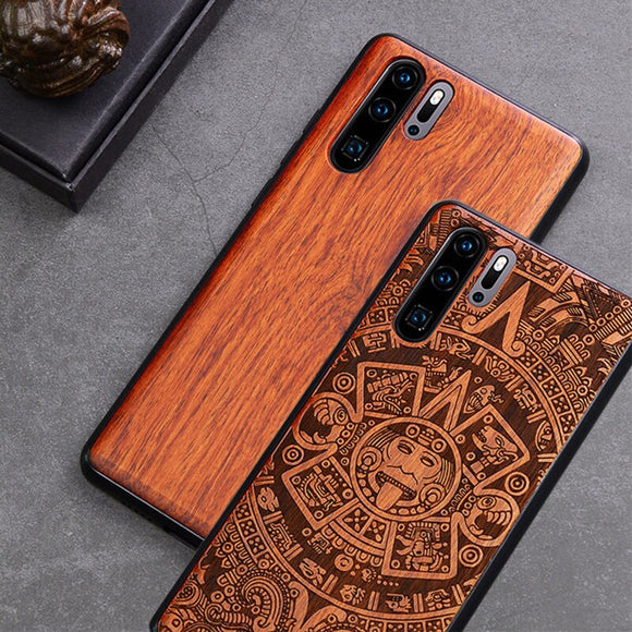 Custom Carved Wood Case For Huawei P30 Case funda on Huawei P20 P30 Pro P30 Lite Wooden TPU Protective Case