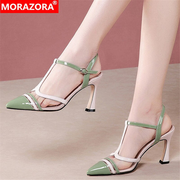 MORAZORA 2020 New Brand summer high heels sandals genuine leather T-strap women sandals fashion pointed toe buckle ladies shoes