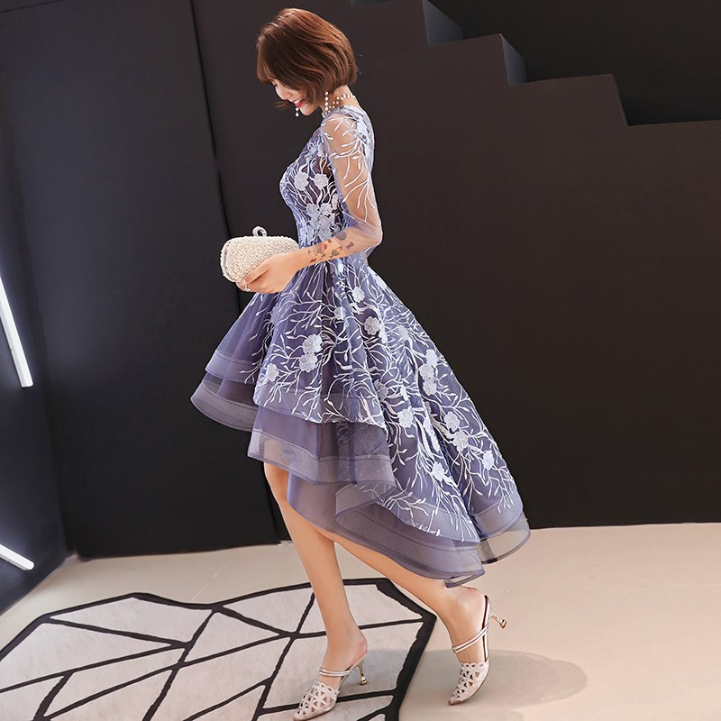 b156c23cf7a He s Bride New Purple Elegant Cocktail Dress Scoop Three Quarter Sleeves Embroidery  Illusion Knee-length ...