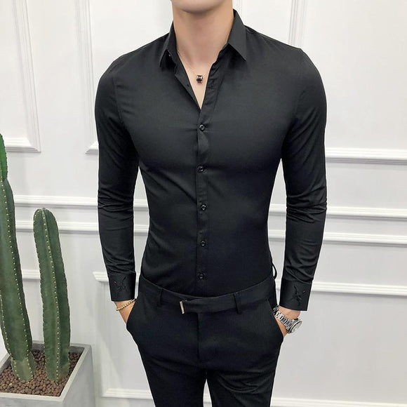 High Quality Men Shirt Long Sleeve Twill Solid Formal Business Embroidery Shirt Brand Man Dress Slim Fit Party Club Shirts